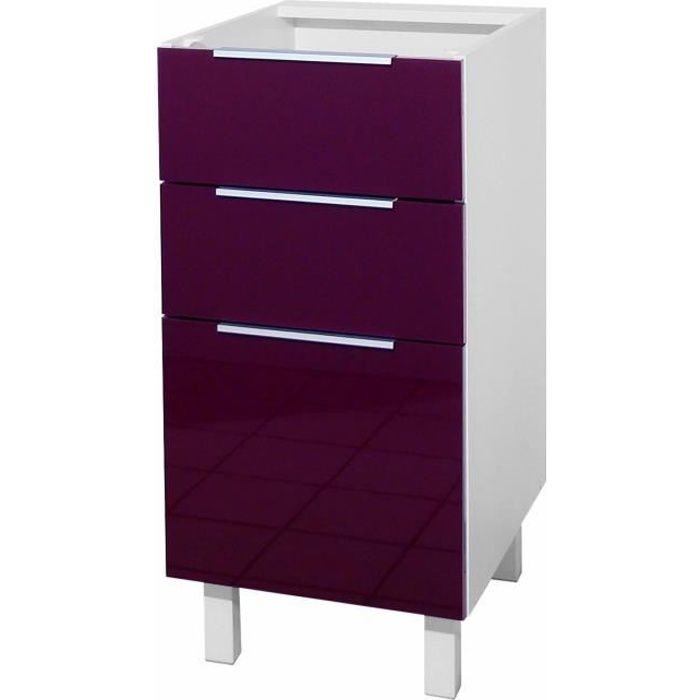 pop meuble bas de cuisine l 40 cm aubergine achat vente elements bas caisson 3 tiroirs 40. Black Bedroom Furniture Sets. Home Design Ideas