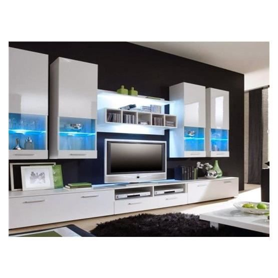 meuble tv design mural raken blanc et blanc composition bois achat vente meuble tv. Black Bedroom Furniture Sets. Home Design Ideas