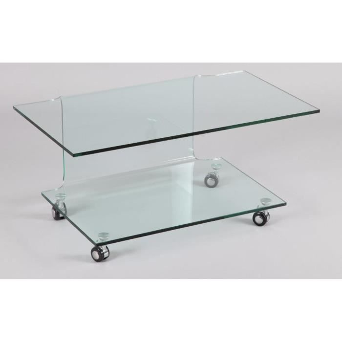 Meuble tv t l design step verre tremp double plateaux for Table de television en verre