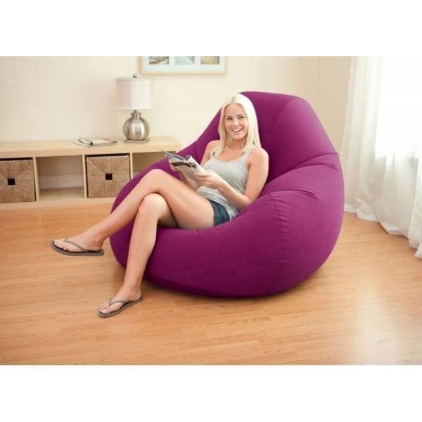 fauteuil pouf gonflable poire deluxe violet axipop achat. Black Bedroom Furniture Sets. Home Design Ideas