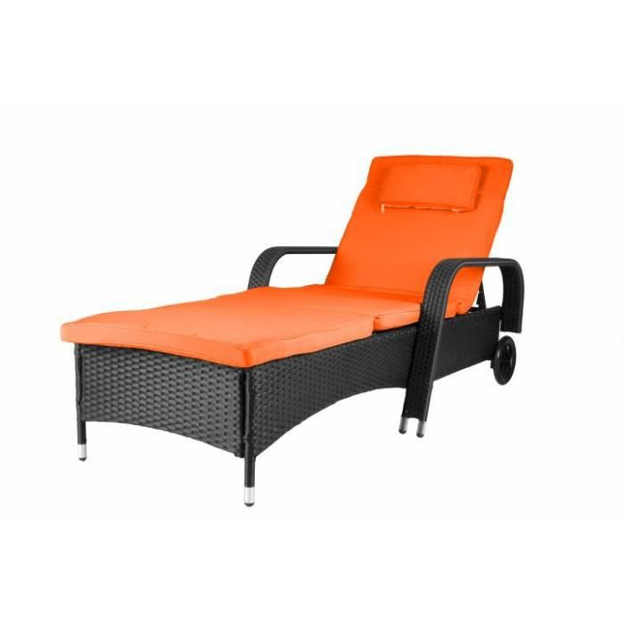 transat bain de soleil noir matelas orange roues. Black Bedroom Furniture Sets. Home Design Ideas