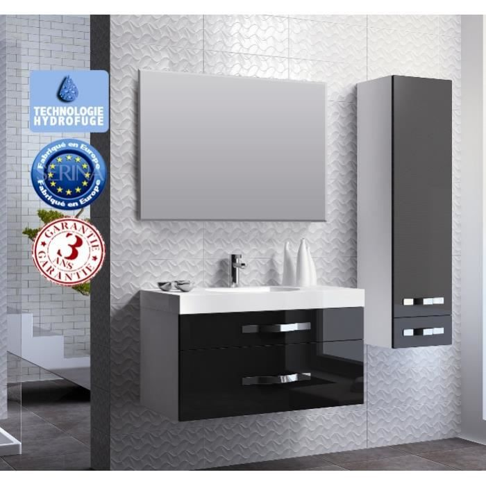 meuble de salle de bain noir brillant achat vente. Black Bedroom Furniture Sets. Home Design Ideas