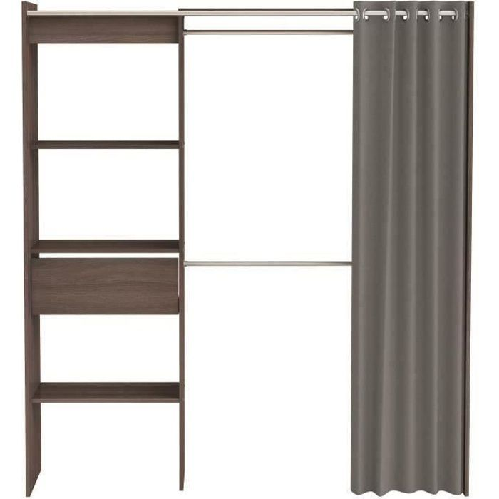 armoire dressing extensible kylian l114 168cm chocolat et gris achat vente armoire de. Black Bedroom Furniture Sets. Home Design Ideas