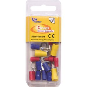 VOLTMAN Pack de 18 cosses ? fourches 3 ? 5 mm rouge-bleu-Jaune