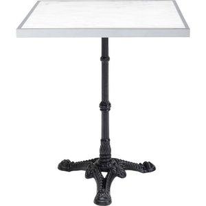 Table de Bistrot Terrasse Meuble Jardin Design 20s Marbre Blanc Pied Fonte Ø30cm