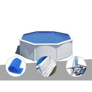 PISCINE Kit piscine acier blanc Gré Wet ronde 3,70 x 1,22