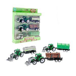 FIGURINE - PERSONNAGE Coffret de 3 Tracteur avec Remorque 24cm - Jeu Jou