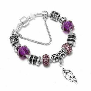 BRACELET - GOURMETTE 19 cm Bracelet Charm Feuille Cristal Swarovski* St