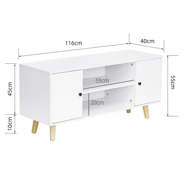Meuble TV blanc acev 2 porte et étagère - MDF, BULALye