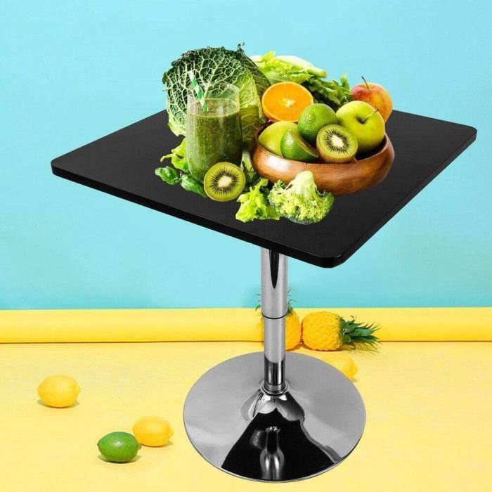 Table bistrot carrée réglable en hauteur 70-90 cm, pivotante à 360 °, hauteur réglable Square Bar table mange-debout bureau ordi,148