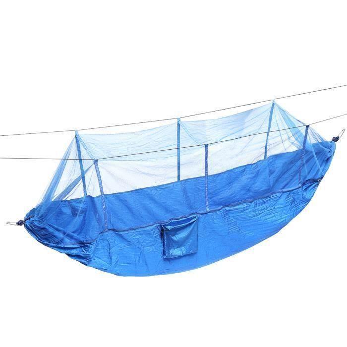 Double Outdoor Parachute Tissu Hamac Portable Camping Hammock Avec moustiquaire Bleu FR30217