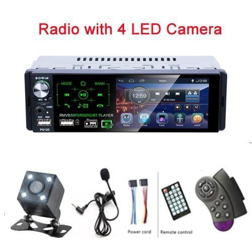 Podofo RDS autoradios 4.1- ecran tactile multimédia MP5 lecteur Auto stéréo Radio Bluetooth Support - Type With 4 LED Camera