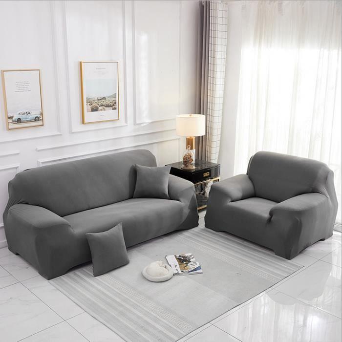 Housse de canapé Housse de protection pour meubles de maison 2 + 1 sièges (grise)