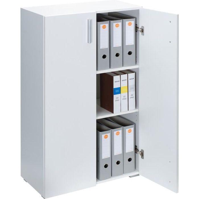 Armoire polyvalente Meuble de rangement avec portes -Vela- Blanc 3 Compartiments