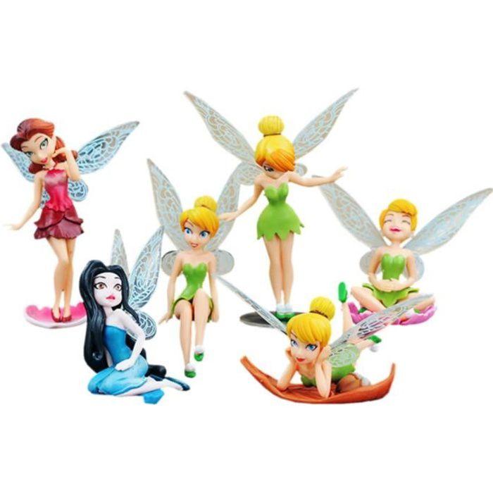 LOT de 6 figurines Fée Clochette - Décoration gâteau Baptême ...