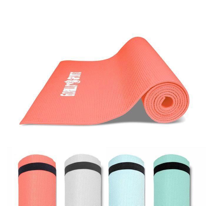 GORILLA SPORTS ® Tapis de yoga, Pilates et fitness PVC Corail avec sangle - 180 x 60 x 0,5 cm
