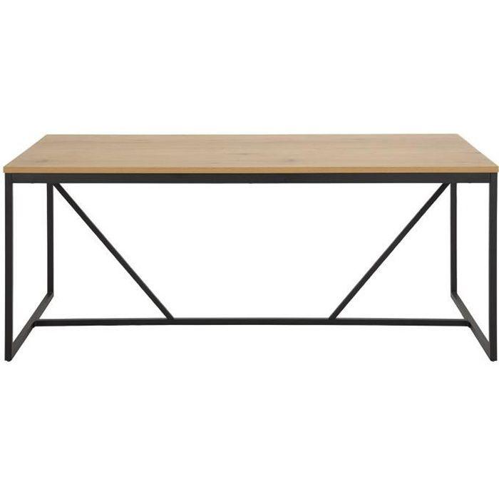 Miliboo - Table à manger industrielle métal et bois L180 cm TRESCA