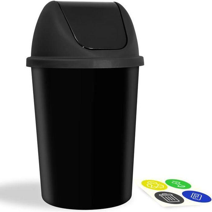 Poubelle 40 litres avec Couvercle Autocollants tri poubelle tri déchets Poubelle cuisine