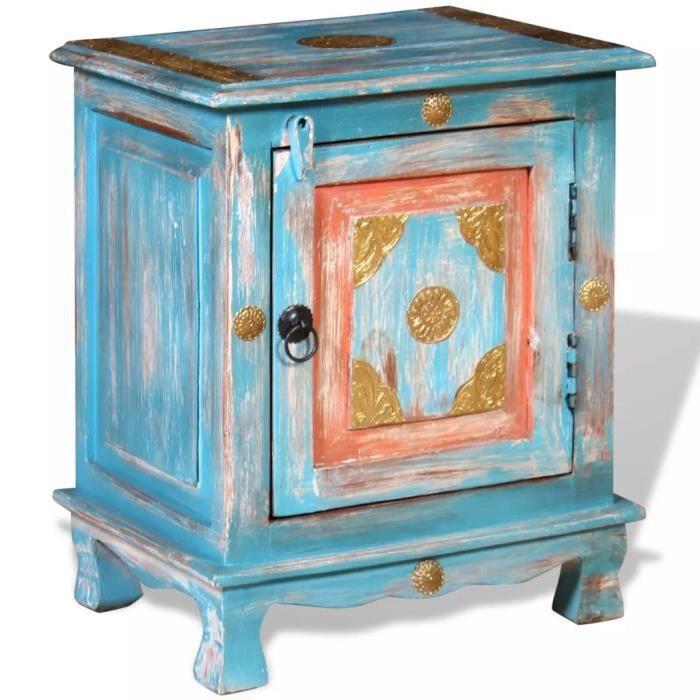 Table de chevet Table de Nuit Armoire Bois de manguier massif Bleu Style indien vintage