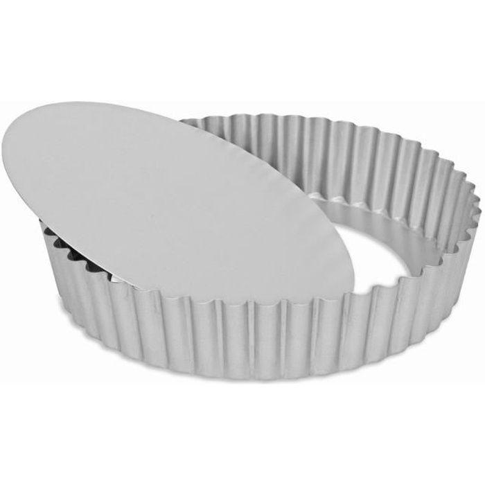Moule à tarte fond amovible bord haut en acier revêtu 25x5cm SILVER TOP