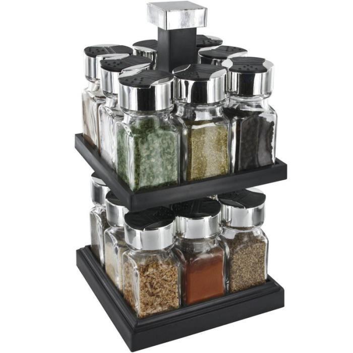 S&D KB5755 Carrousel à épices Distributeur carré rotatif 16 pots 2 étages Noir gris transparent Plastique Verre Couvercles double cl