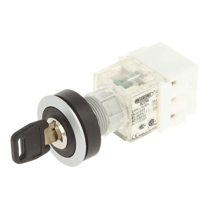 Schlegel Interrupteur à clé rastend/tastend, 3 positions, Sonde Contact 1 NO et 1 contact des donateurs, borne à vis, métallique