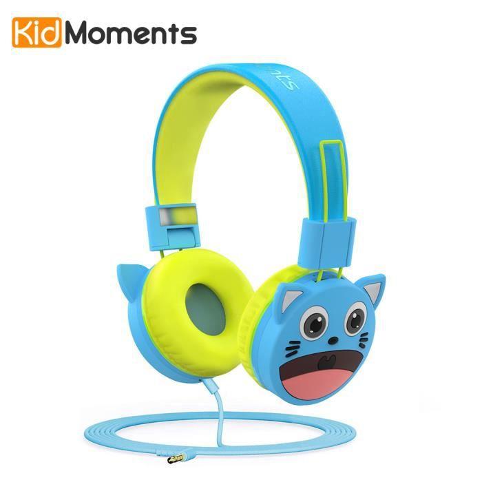 SUNNZO Casques Audio enfants,Stéréo Écouteurs avec à 85 dB, matériaux agréés pour l'usage alimentaire,sans bisphénol A-Bleu