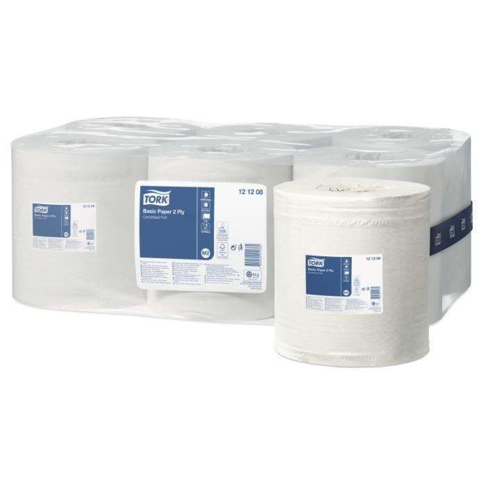 Tork 121208 Papier d'essuyage Universal à dévidage central M2 - 135 m x 20 cm - lot de 6 bobines - Blanc