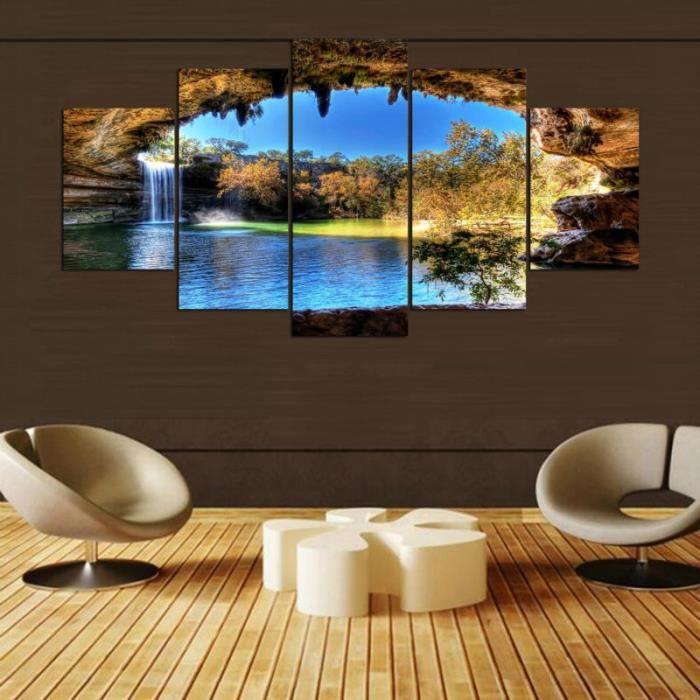 TABLEAU - TOILE 5 pcs Décoration murale art toile cascade peinture