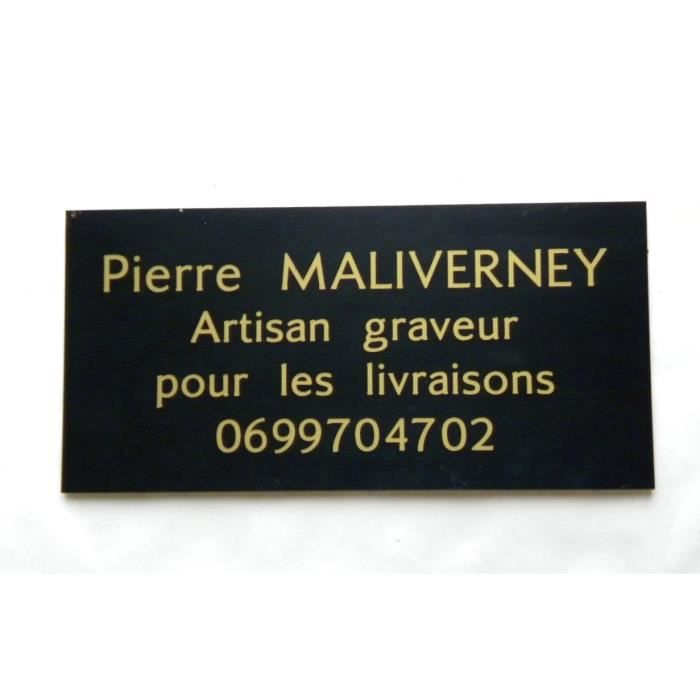 plaque de porte grav e adh sive 4 lignes personnalisable ft 75 x 150 mm achat vente. Black Bedroom Furniture Sets. Home Design Ideas
