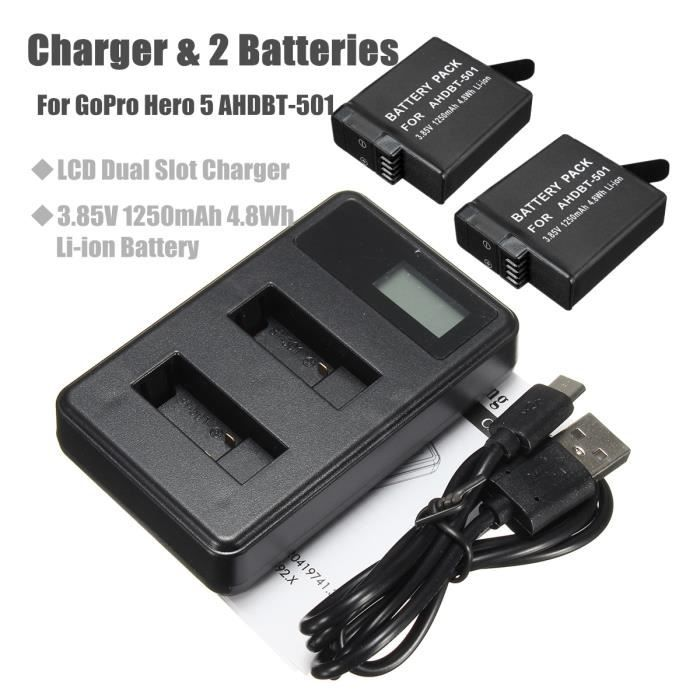 BATTERIE APPAREIL PHOTO 2x 1250mAh Li-ion Batterie + LCD 2-Port Chargeur p