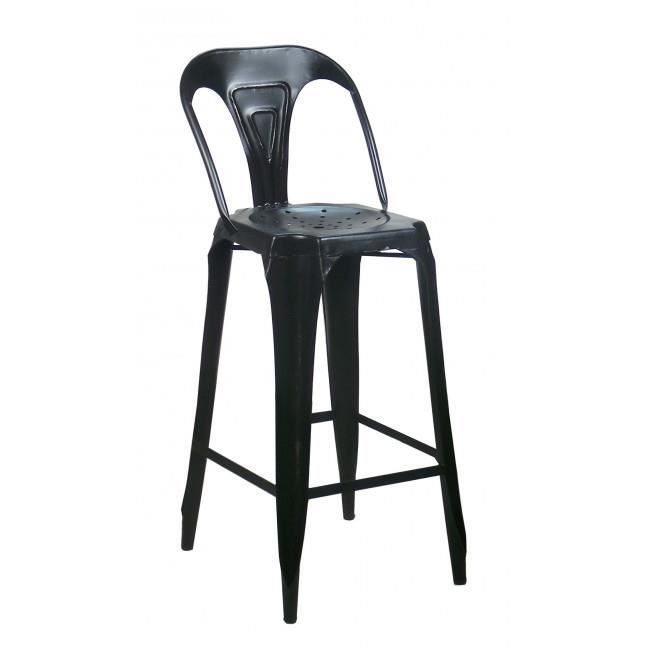 tabouret de bar avec dossier en acier style industriel noir achat vente tabouret de bar noir. Black Bedroom Furniture Sets. Home Design Ideas