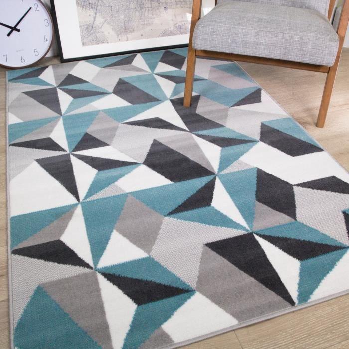 The Rug House Tapis De Salon Traditionnel Milan Motif Moderne Geometrique Kaleidoscope Gris Argente Creme Bleu Canard 120cm X 170cm Achat Vente Tapis Cdiscount