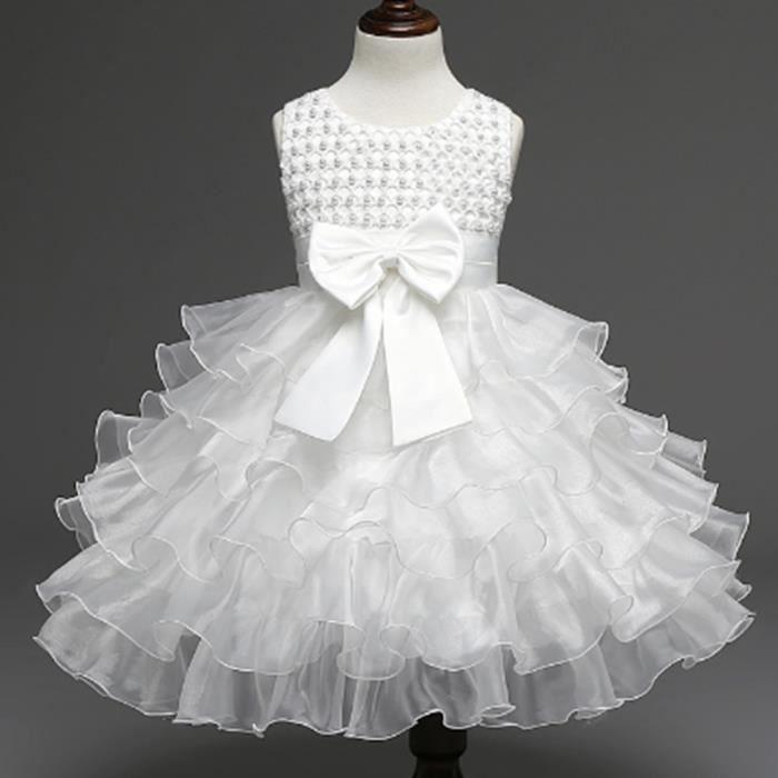 Robe Bebe Ceremonie D Enfante Bapteme Fille Jup Blanc Achat Vente Robe De Ceremonie Cdiscount
