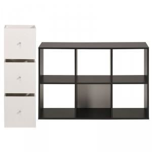 Biblioth que 6 cases 3 cubes cubo noir pa achat ve - Bibliotheque 6 cases ...