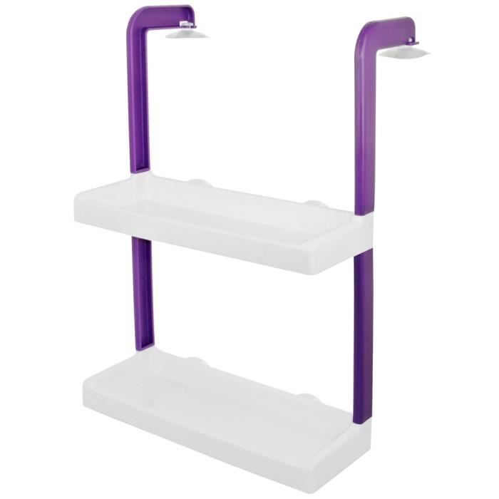 etag re de rangement toilettes salle de bain suspendre avec ventouses prune achat vente. Black Bedroom Furniture Sets. Home Design Ideas
