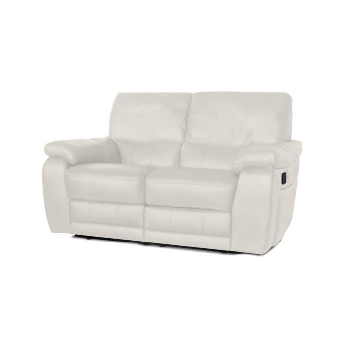 Canap relaxation en cuir 2 places blanc 2 plac achat vente canap s - Canape relax cuir blanc ...