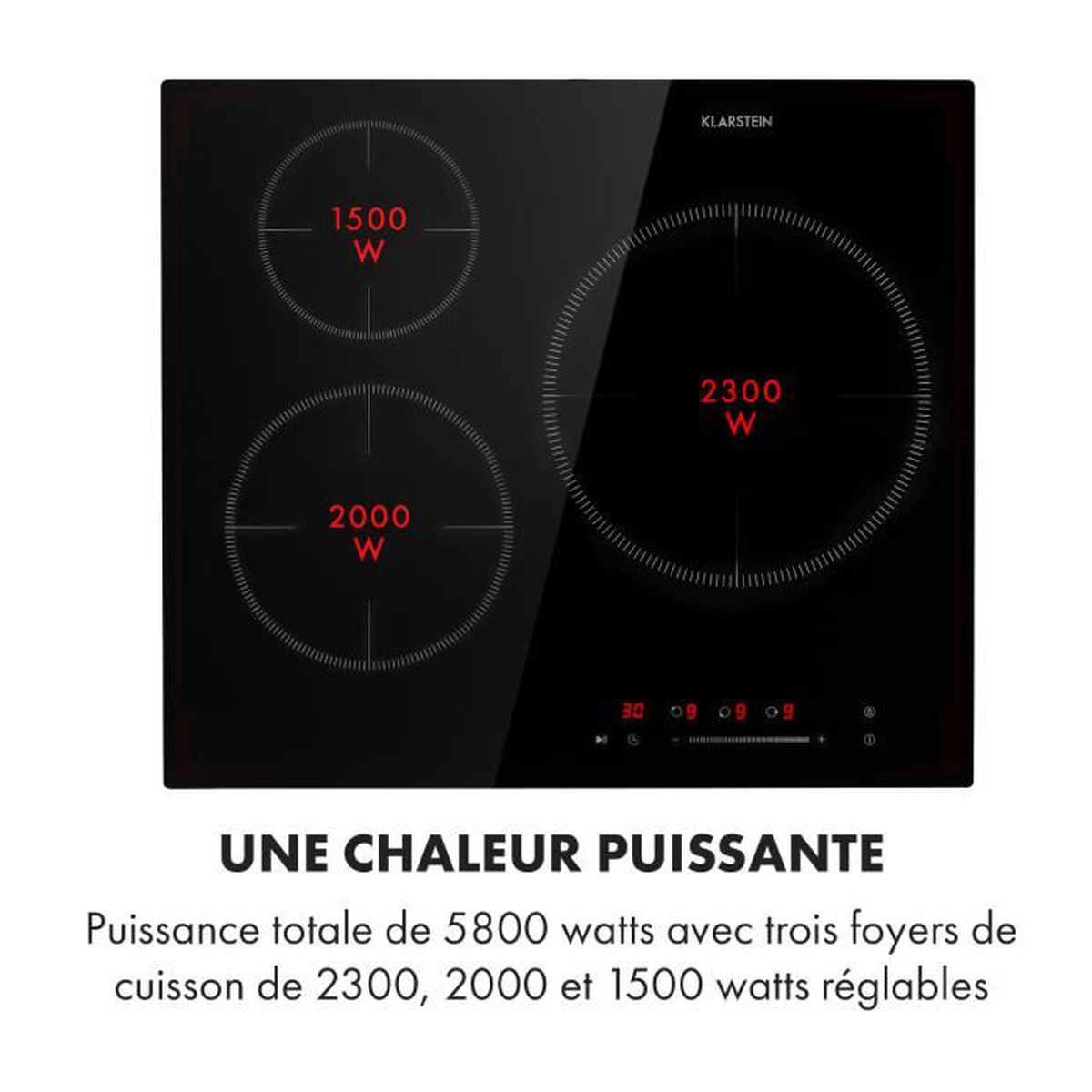 Table De Cuisson Vitrocéramique Pas Cher table de cuisson induction - klarstein delicatessa 3 flex - 3 zones - 5800w  - noir