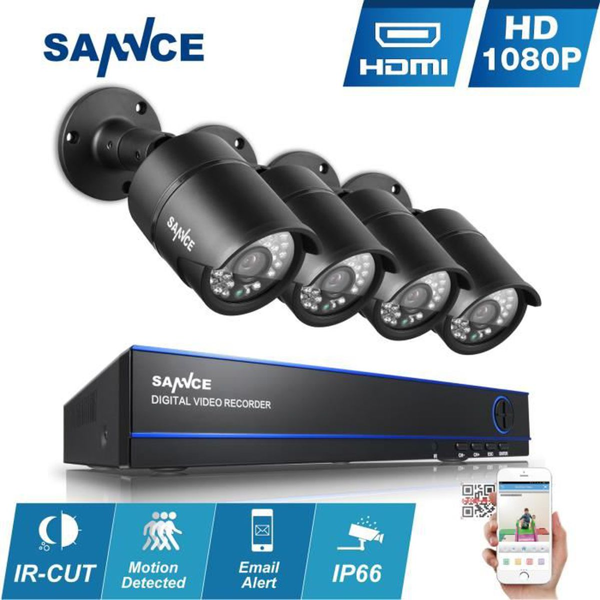 sannce kit cam ra surveillance ext rieur 4ch dvr vid o 4. Black Bedroom Furniture Sets. Home Design Ideas