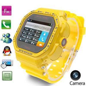 MONTRE CONNECTÉE Montre téléphone portable jaune Sport Caméra,Tacti