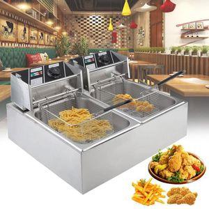FRITEUSE ELECTRIQUE friteuse électrique en acier inox Double réservoir