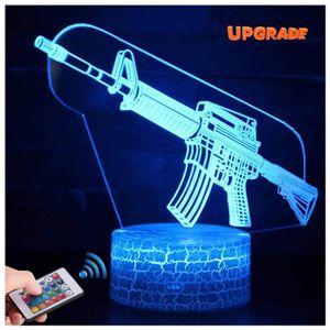 LAMPE A POSER Fusil Arme 3D Lampes avec Télécommande,   LED Lamp