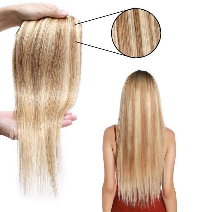 16 Pouce Extension de cheveux naturel à clip pince 8 bandes rajout vrai cheveux humains - 12P613 Brun doré & Blond Blanchi