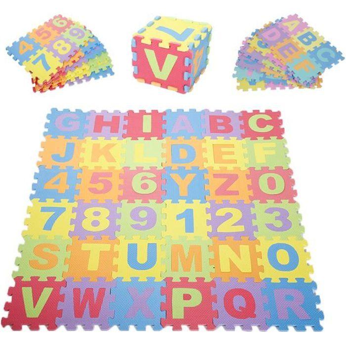 Tapis puzzle non-toxique 36pcs 26 lettres+10 chiffres en mousse EVA 16*16cm pour Jeu éducatif Bébé/Enfant