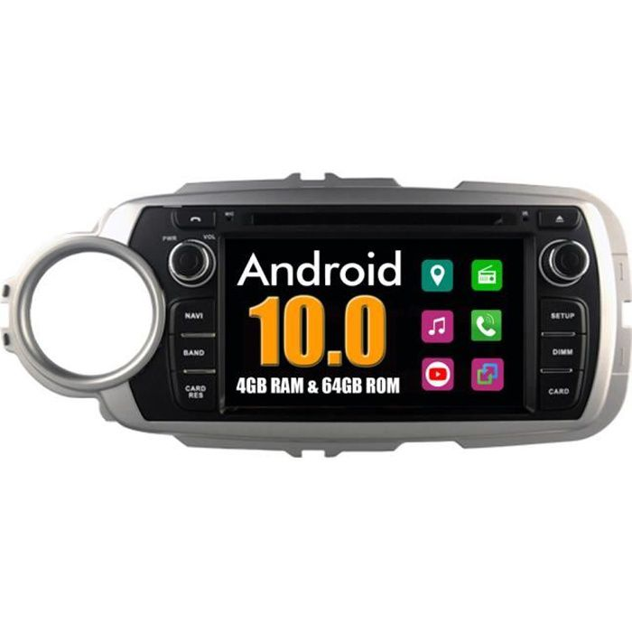 RoverOne Autoradio Bluetooth GPS Navigation pour Toyota Yaris 2012 2013 Android Stéréo DVD MirrorLink WiFi