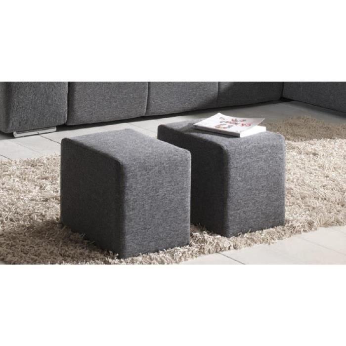 Canapé d'angle convertible + 2 poufs tissu gris GINA