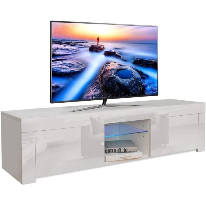 Dripex Meuble TV contemporain décor Corps blanc - Façade blanche haute brillance - 130 cm