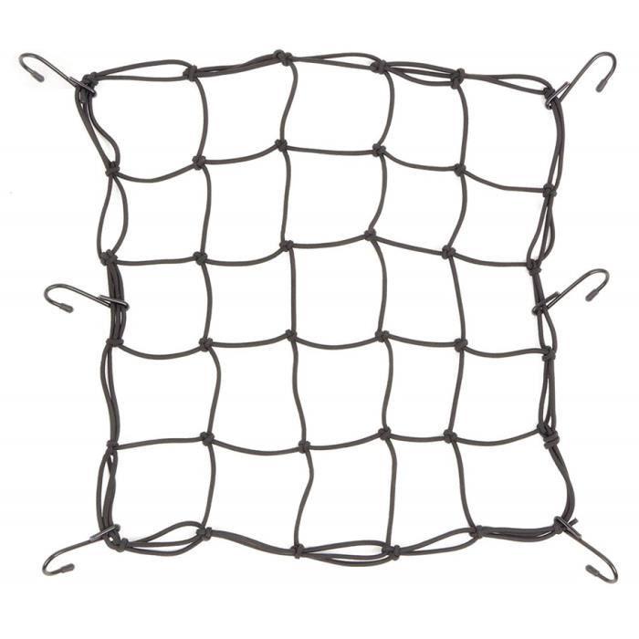 Filet pour Moto Casque de vélo avec 6 Crochets Bagages Paquet Cargo Net Charge Cordon Couverture Net Noir [Taille:40x40cm]