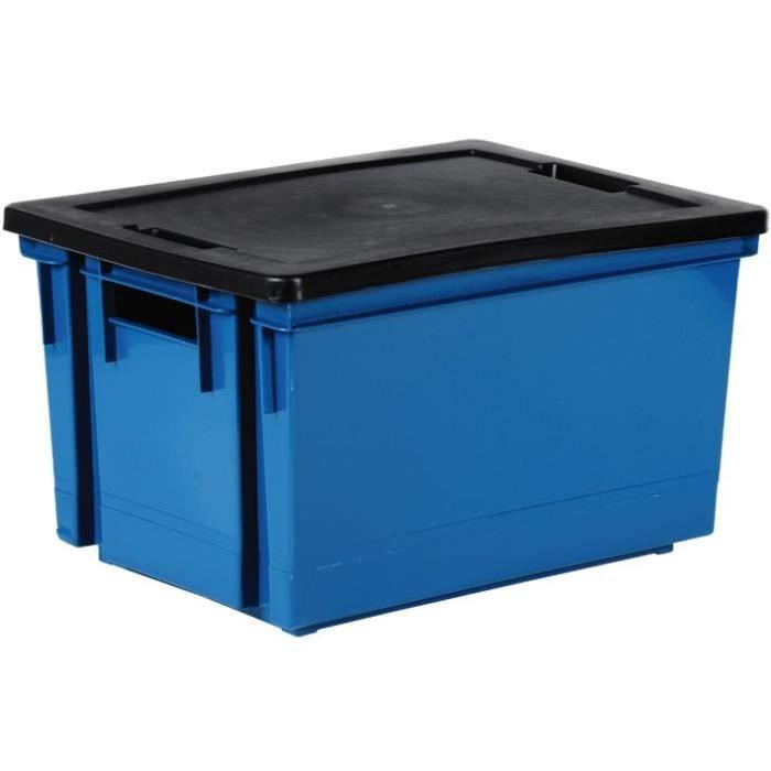 Bac de rangement avec couvercle en plastique - 10 L - bleu minéral et noir