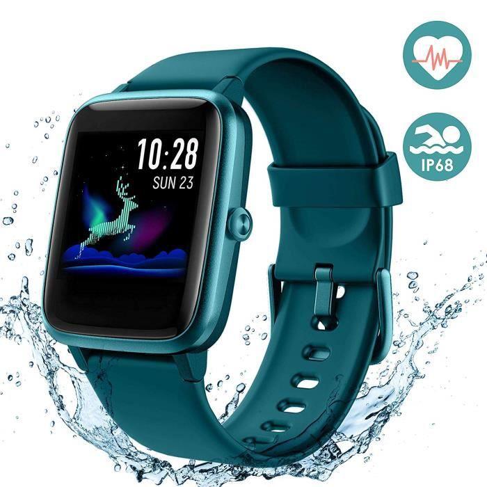 Montre Connectée Smartwatch pour Femmes Hommes Tracker d' Activité Bracelet Connecté IP68 Étanche (Vert)